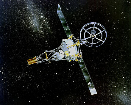 Artist's impression of Mariner 2, launched in 1962, a skeletal, bottle-shaped spacecraft with a large radio dish on top Mariner 2.jpg
