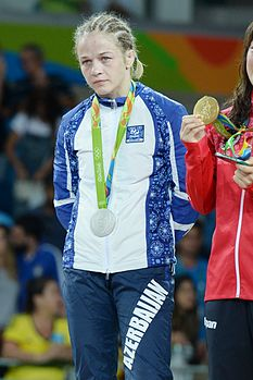 Mariya Stadnik at the 2016 Summer Olympics, Women's Freestyle Wrestling 48 kg awarding ceremony 2.jpg
