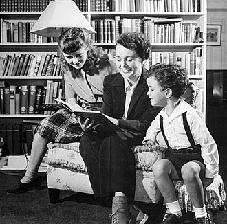Mary Astor - Astor with her daughter, Marylyn Thorpe, and her son, Anthony del Campo (1944)
