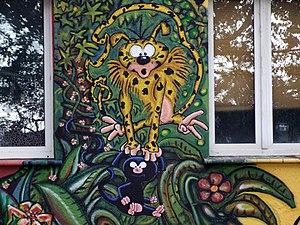 Le Marsupilami, sur une décoration murale, à Düsseldorf.