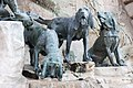 Matthias Fountain, detail, Statue of hunting dogs (16978284229).jpg