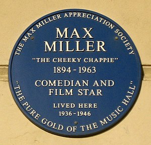 Max Miller (comedian) - Commemorative plaque at 160 Marine Parade, Brighton (2006)