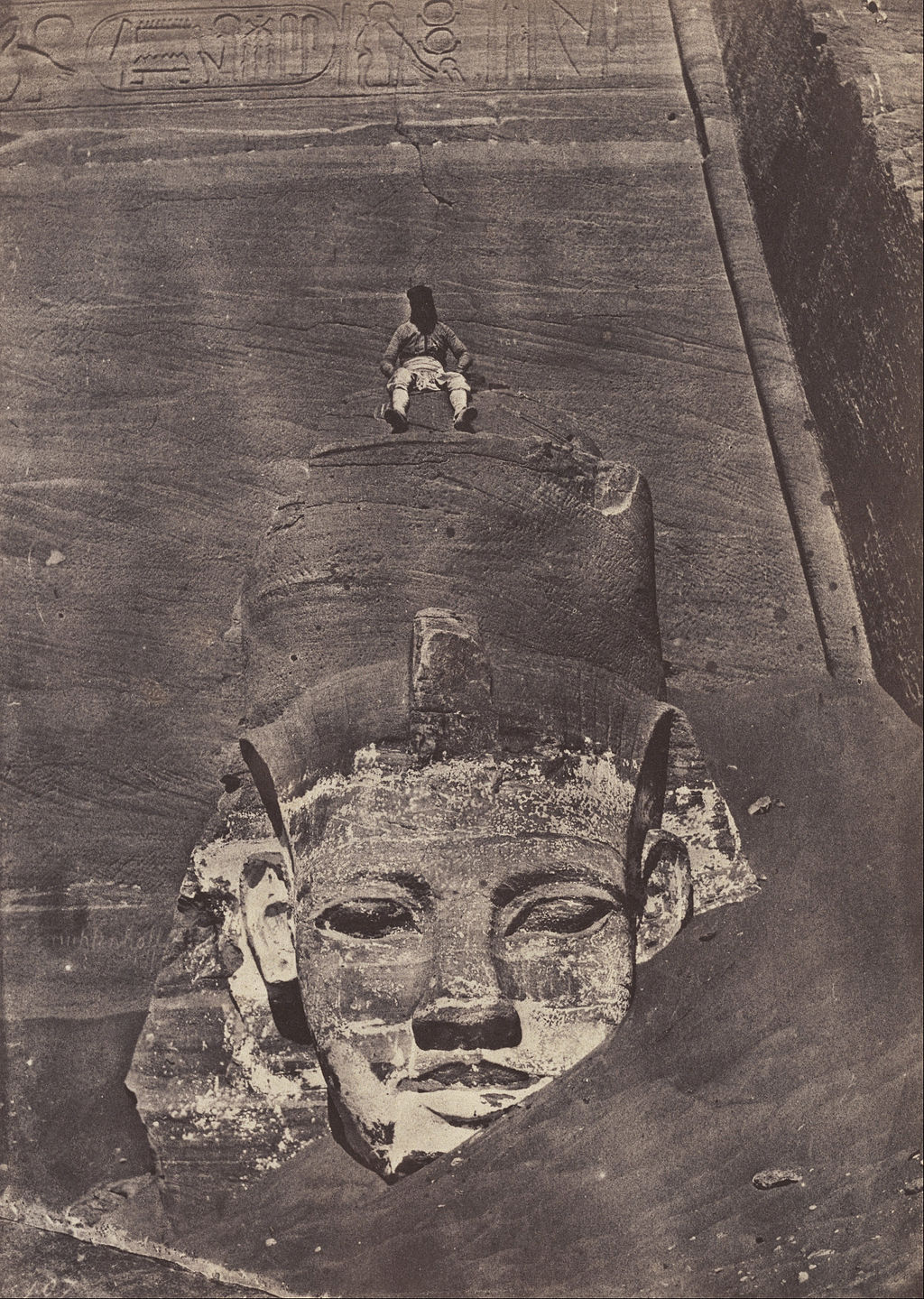 Maxime Du Camp, Abu Simbel, Western Colossus of the Temple of Ra, 1850, Salted paper print from a paper negative