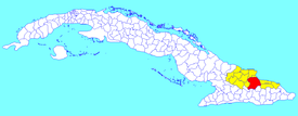 Mayarí municipality (red) within  Holguín Province (yellow) and Cuba