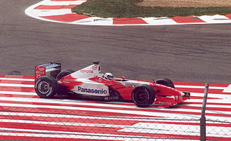 Toyota Racing (Formula One team) - Allan McNish at the 2002 French Grand Prix. The Scot qualified in seventeenth place, but retired from the race with an engine problem although he did complete enough laps to be classified eleventh.