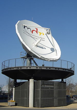 English: A giant satellite dish of the mdr (Mi...