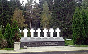 Soviet OMON assaults on Lithuanian border posts - Monument to the seven Lithuanian customs officers killed on July 31, 1991 in Medininkai
