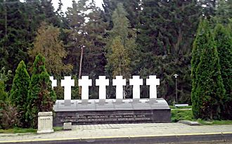 Medininkai - Monument of seven Lithuanian customs officers, killed July 31, 1991 in Medininkai