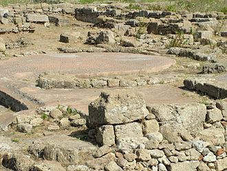 Megara Hyblaea - Mosaics on the floor of a house near the western gate of Megara Hyblaea.