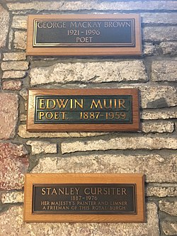 Memorial to George Mackay Brown, Edwin Muir and Stanley Cursiter in Kirkwall Cathedral, Orkney