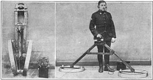 Metal detector - Early metal detector, 1919, used to find unexploded bombs in France after World War 1.