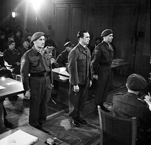 Ardenne Abbey massacre - Kurt Meyer stands trial in Aurich, Germany for 5 counts of war crimes in December 1945