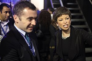 Michael Hastings (journalist) - Michael Hastings and Valerie Jarrett at Barack Obama's victory party, 2012