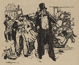 """Cross dressing ball - Drawing of a carnival ball about 1909, with the commentary """"AU BAL DE LA MI-CARÊME"""". The drawing was done by Hungarian artist Miklós Vadász, and shows a blushing rich man arm in arm with a young woman, herself kissing another man; on the left, what seems two to be men dancing together. The image was published in the number 422 of the anarchist magazine L'Assiette au Beurre, titled Les p'tits jeun' hommes (""""The little young men""""), dedicated to the decadent aristocrats, and the effeminate kept men."""