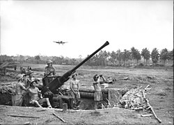 A airstrip lined with coconut palms. A single-engined propeller-driven monoplane hovers over the airstrip. In the foreground there is a large hole in the ground, about knee deep. There are six shirtless men in shorts inside the pit with an antiaircraft gun, which is pointed at the sky. One man sits on a seat on the gun while another scans the sky with binoculars.
