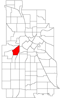 Location of Lowry Hill within the U.S. city of Minneapolis