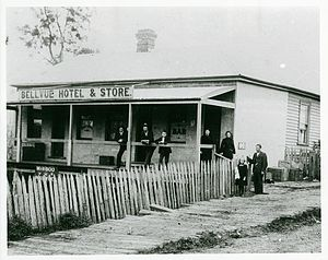 Mirboo North, Victoria - The Mirboo Bellevue Hotel, Store and Post Office ca. 1885-1899