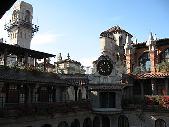 The Mission Inn Hotel & Spa - Clock overlooking the Spanish Wing.