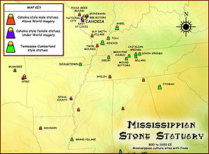 Mississippian stone statuary - Map showing geographical extent of Mississippian stone statues