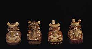 Viracocha - Moche ceramic vessels depicting bearded men