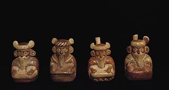 Viracocha - Moche ceramic vessels depicting bearded men