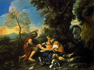 Erminia and Valfrino Tending the Wounded Tancred After the Battle with Argante