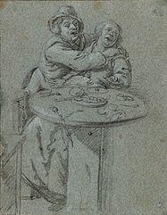 Para obejmująca się przy stole