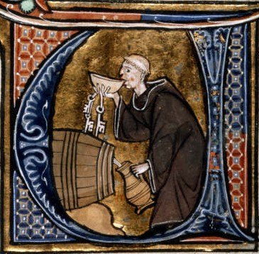 Monk tasting wine from a barrel