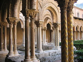Monreale - The cloister of the abbey of Monreale.