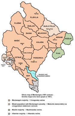 Montenegrins in Montenegro according to the 1991 census