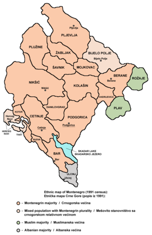 Montenegrins - Montenegrins in Montenegro according to the 1991 census