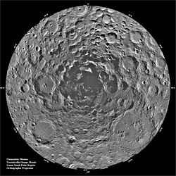 Twenty degrees of latitude of the Moon's disk, completely covered in the overlapping circles of craters. The illumination angles are from all directions, keeping almost all the crater floors in sunlight, but a set of merged crater floors right at the south pole are completely shadowed. Mosaic image of the lunar south pole as taken by Clementine: note permanent polar shadow. Credit: NASA/JPL-Caltech.