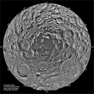 Lunar south pole - Lunar south polar region as imaged by Clementine.