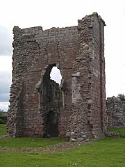 5. Remains of the medieval great tower or keep. Sir Andrew built his new ranges along the wall to the right of it.