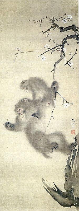 """Monkeys in Japanese culture - """"Monkeys in a plum tree"""", Mori Sosen, 1808."""