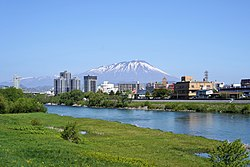Morioka and Mount Iwate and River Kitakami in May 2019.jpg