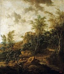 Forest landscape with a castle.