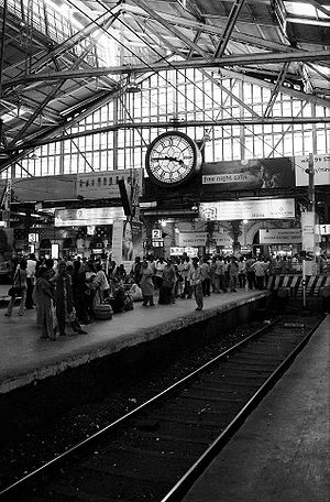 The terminal end of platform 2 at w:Mumbai CST...