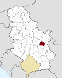 Location of the municipality of Boljevac within Serbia