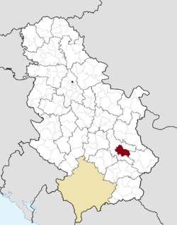Location of the city of Niš within Serbia