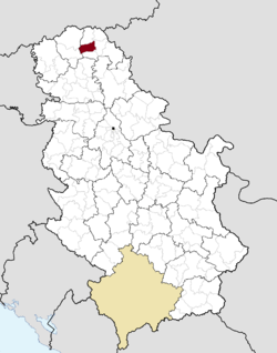 Location of Senta within Serbia