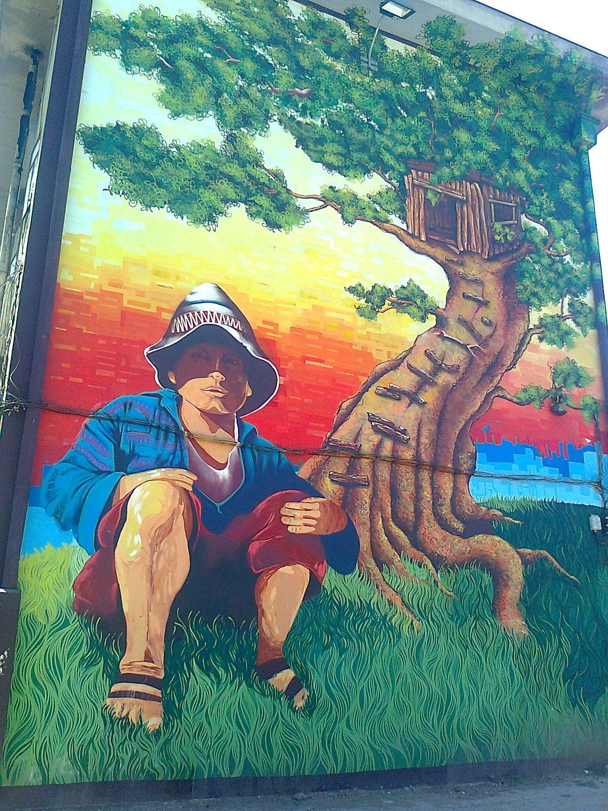Museo a cielo abierto en san miguel wikipedia la for Papeles murales en santiago de chile