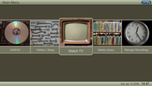 A screenshot of MythTV's main menu in the default theme, Terra