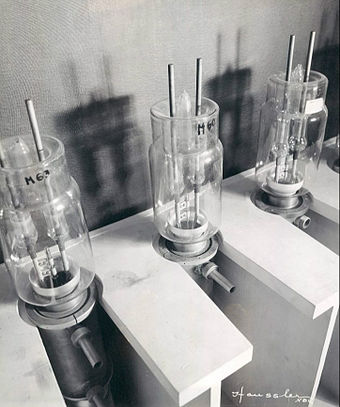 High frequency tubes in the tube room. They were used for the NBC television transmitter, 1936. NBC kept 220 tubes in reserve for their transmitter. NBC television high frequency tubes 1936.JPG