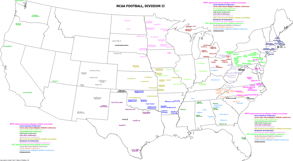 Map Of East Coast Florida.List Of Ncaa Division Ii Football Programs Wikipedia