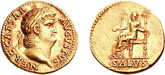 Salus - Salus, seated and holding a patera (libation bowl), on  an aureus issued under Nero