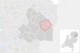 Locatie van de gemeente Borger-Odoorn (gemeentegrenzen CBS 2016)