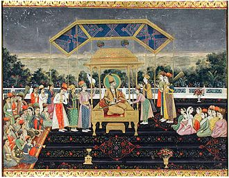 Peacock Throne - The Persian king Nader Shah seated upon the Peacock Throne with members of the court, after his victory at the Battle of Karnal