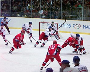 Sergei Fedorov - Fedorov (91) with Pavel Bure (10) at the 1998 Winter Olympics in Nagano, Japan