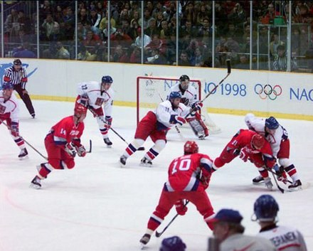 Professional NHL players were allowed to participate in ice hockey starting in 1998 (1998 Gold medal game between Russia and the Czech Republic pictured). Nagano 1998-Russia vs Czech Republic.jpg